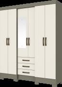 Guarda-roupa com Espelho 6 portas 3 gavetas Briz B23 - Duna/Off White