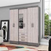 Guarda-roupa com Espelho 6 portas 3 gavetas Briz B23 - Gris/Palha