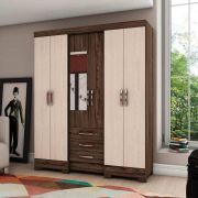 Guarda-roupa com Espelho 6 portas 3 gavetas Briz B23 - Moka/Fendi