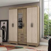 Guarda-roupa com Espelho 6 portas 3 gavetas Briz B23 - Rústico/Fendi