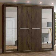Guarda-roupa com Espelho Casal 4 Portas de Correr Henn Elegance - Café
