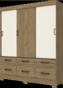 Guarda-roupa com Pés 3 Portas de Correr e 6 Gavetas Henn Briz B21 - Rústico/Off White