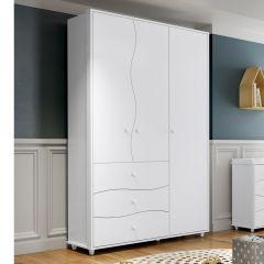 Guarda-roupa Infantil 3 Portas 3 Gavetas Adoleta - Henn Branco Flex Color