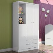 Guarda roupa Infantil 3 Portas Henn Bala de Menta - Flex Color Branco/Rosa