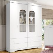 Guarda roupa Infantil de MDF 4 Portas Henn Provençal - Branco HP Fosco