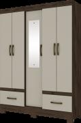 Guarda-roupa Solteiro com Espelho 5 Portas 2 Gavetas Henn Briz B60 - Café/Cristal