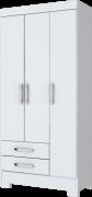 Guarda-roupa Solteiro com Pés 3 Portas 2 Gavetas Henn Briz BE16 - Flex Branco/Rosa