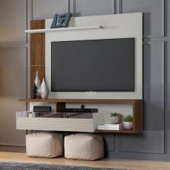 Painel Home Suspenso para TV até 60 pol. Tijuca Linea Brasil - Off White/Nogueira