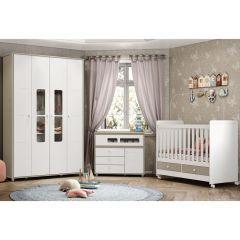 Quarto de Bebê Aquarela com Berço Mini-cama, Cômoda e Guarda-roupa Henn - Cristal/Branco