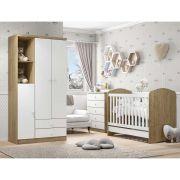 Quarto de Bebê Completo com Berço, Cômoda e Guarda-roupa Henn Bala de Menta - Rústico/Branco