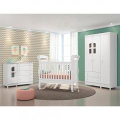 Quarto de Bebê Completo com Berço Mini Cama Colonial, Cômoda E Guarda-roupa Amore Qmovi - Branco