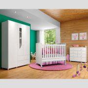 Quarto de Bebê Completo com Berço Mini-cama, Cômoda e Guarda-roupa Henn Pão de Mel - Branco