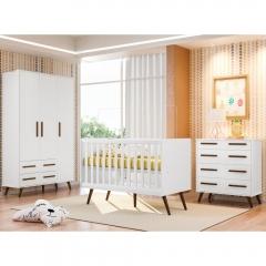Quarto de Bebê Completo Com Berço Mini-cama, Cômoda e Guarda-roupa Retrô Qmovi - Branco