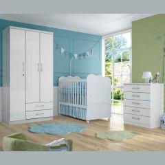 Quarto de Bebê Completo com Berço Mini-cama, Guarda-roupa Açaí e Cômoda Flor de Lis - Branco