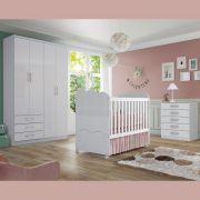 Quarto de Bebê Completo com Berço Mini-cama, Guarda-roupa Caju e Cômoda Flor de Lis - Branco