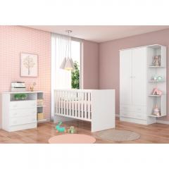 Quarto de Bebê Completo com Guarda-roupa 2 Portas, Berço e Cômoda Doce Sonho Qmovi - Branco