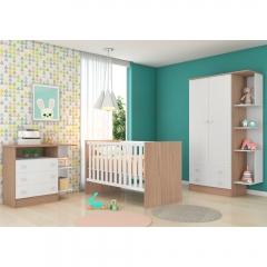 Quarto de Bebê Completo com Guarda-roupa 2 Portas, Berço e Cômoda Doce Sonho Qmovi - Carvalho Rústico/Branco