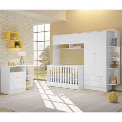 Quarto de Bebê Completo com Guarda-roupa Módulo Infantil, Berço e Cômoda Doce Sonho Qmovi - Branco