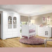 Quarto de Bebê Completo de MDF com Berço Mini-cama, Cômoda e Guarda-roupa Henn Provençal - Branco HP