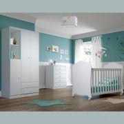 Quarto de Bebê Henn com Berço Arco Iris, Comoda e Guarda roupa Bala de Menta - Branco