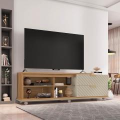 Rack Bancada Harmony para TV até 55 pol. Caemmun - Buriti/Off White