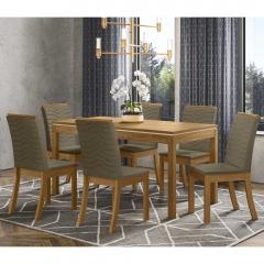 Sala de Jantar com Mesa Lana 140cm e 6 Cadeiras Dina Henn - Nature/Bege