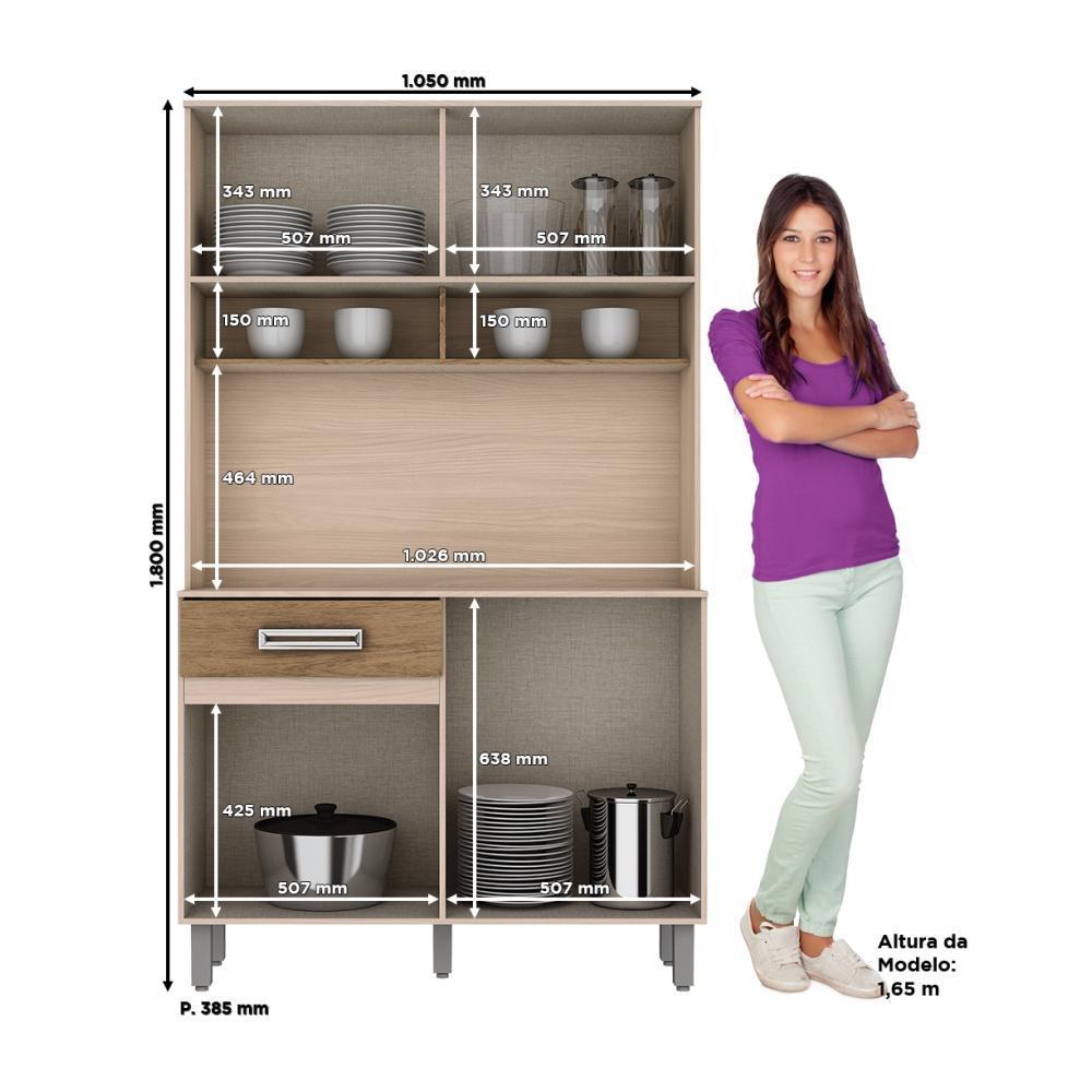Armário Compacto para Cozinha 4 portas 1 gaveta Kit Briz B109 - Fendi/Rústico  - LOJA VENEZA