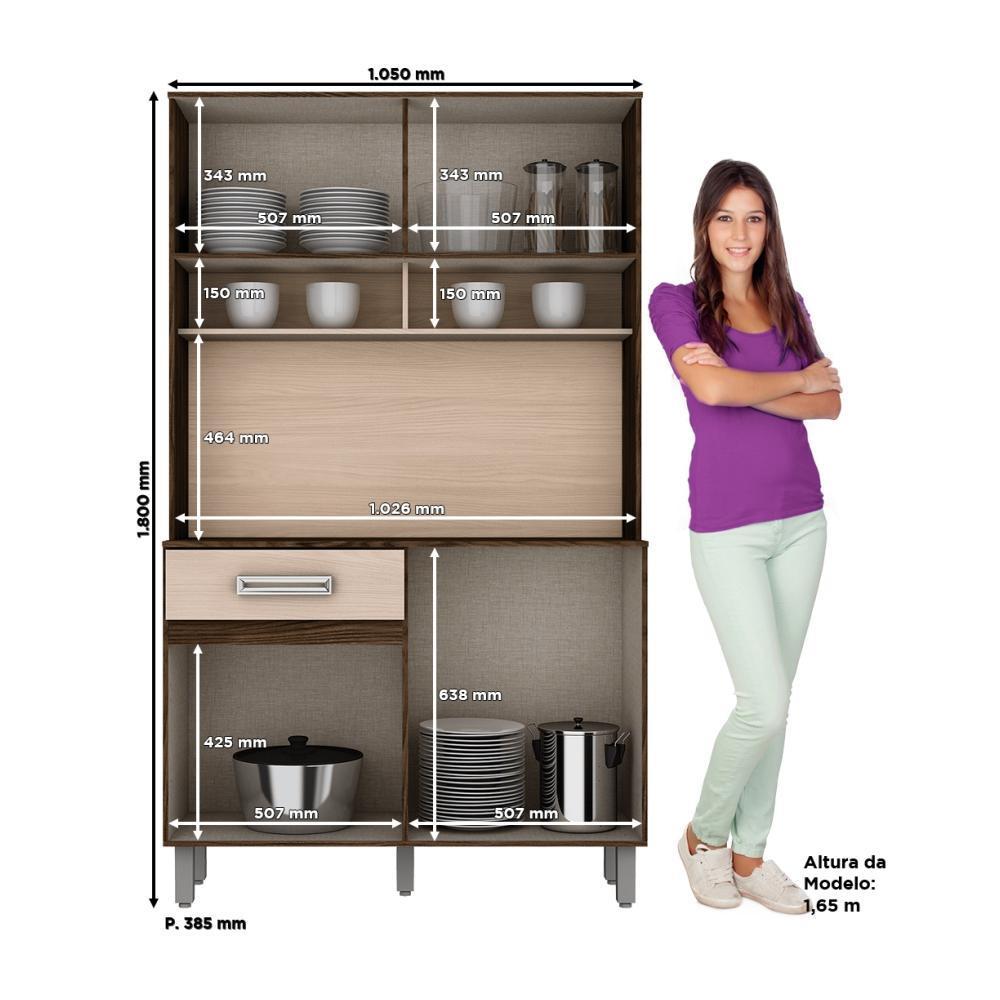 Armário Compacto para Cozinha 4 portas 1 gaveta Kit Briz B109 - Moka/Fendi  - Loja Veneza