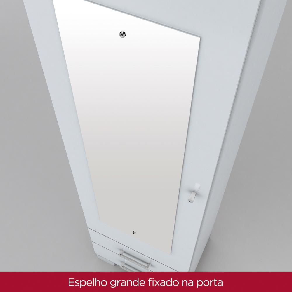 Sapateira com Espelho 1 Porta 2 Gavetas Henn Leon - Branco  - LOJA VENEZA