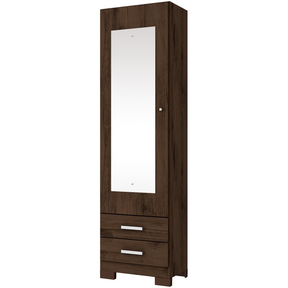 Sapateira com Espelho 1 Porta 2 Gavetas Henn Leon - Café  - LOJA VENEZA