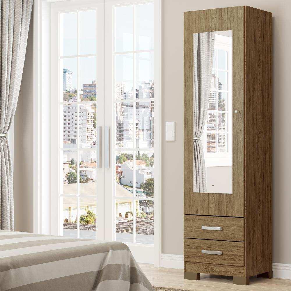 Sapateira com Espelho 1 Porta 2 Gavetas Henn Leon - Rústico  - Loja Veneza