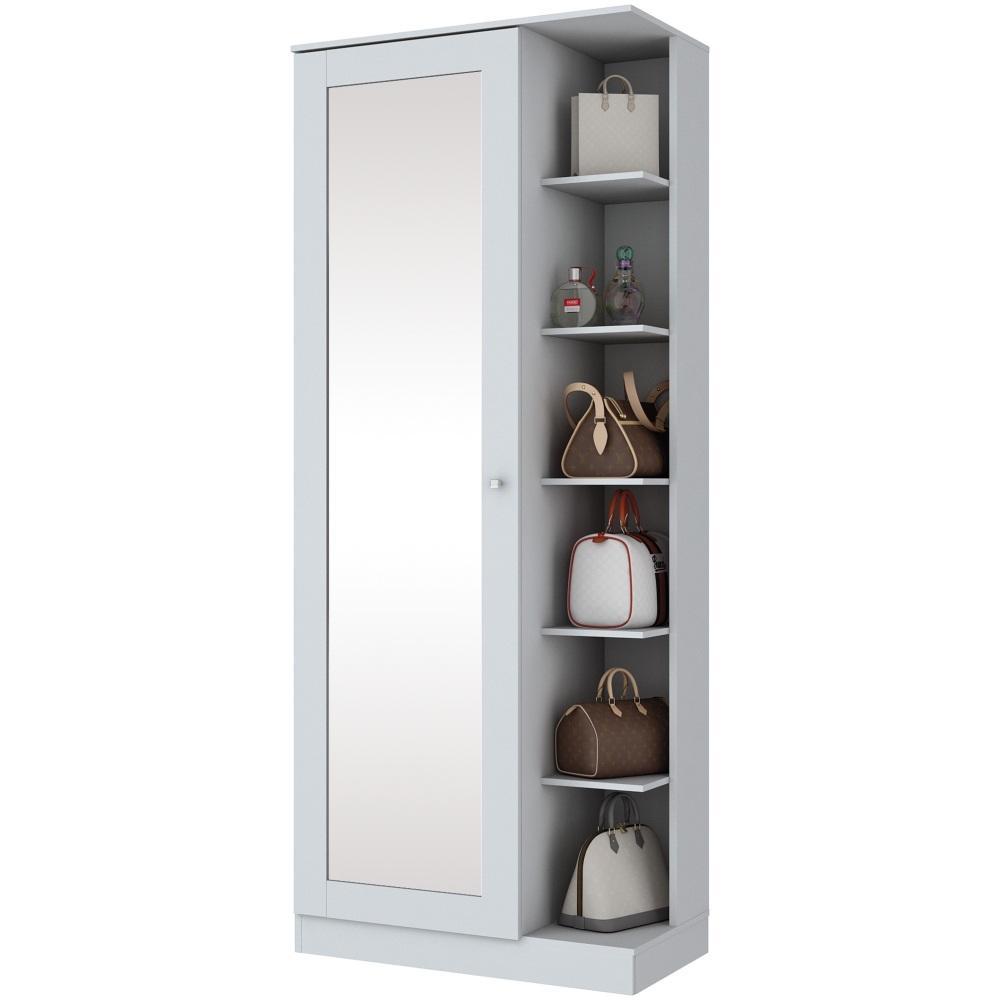 Sapateira com Espelho 1 Porta Henn Duetto - Branco HP Fosco  - Loja Veneza