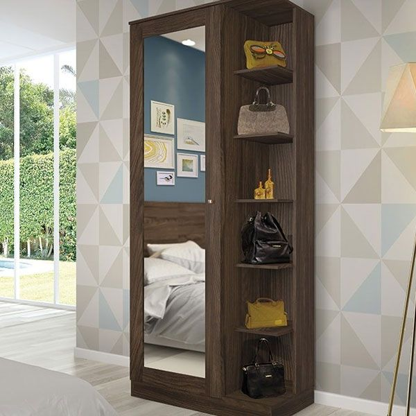 Sapateira com Espelho 1 Porta Henn Duetto - Moka  - Loja Veneza