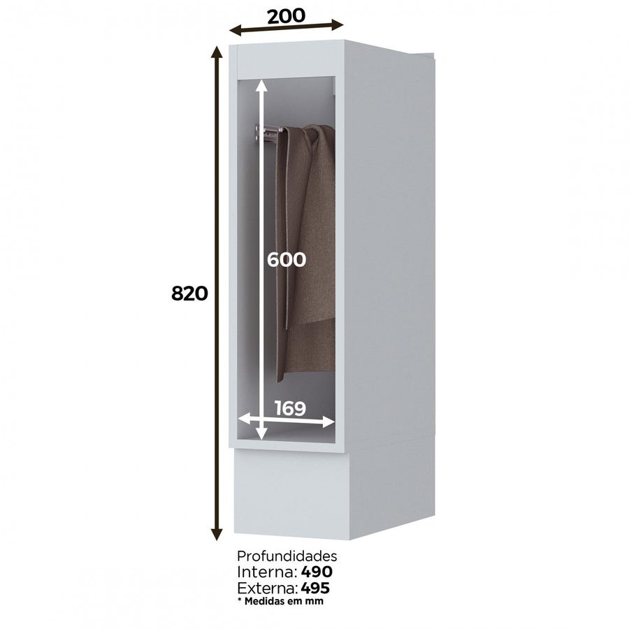 Balcão 20cm Porta Toalha Americana Henn - Branco HP Fosco  - Loja Veneza