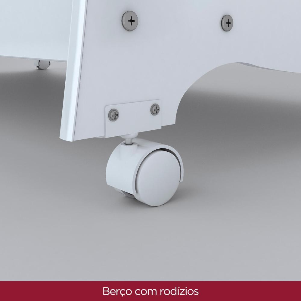 Berço com Rodizios Henn Arco Iris - Branco  - Loja Veneza