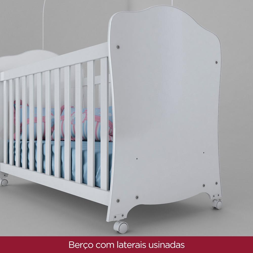 Berço com Rodízio Henn Arco-Íris - Branco  - Loja Veneza