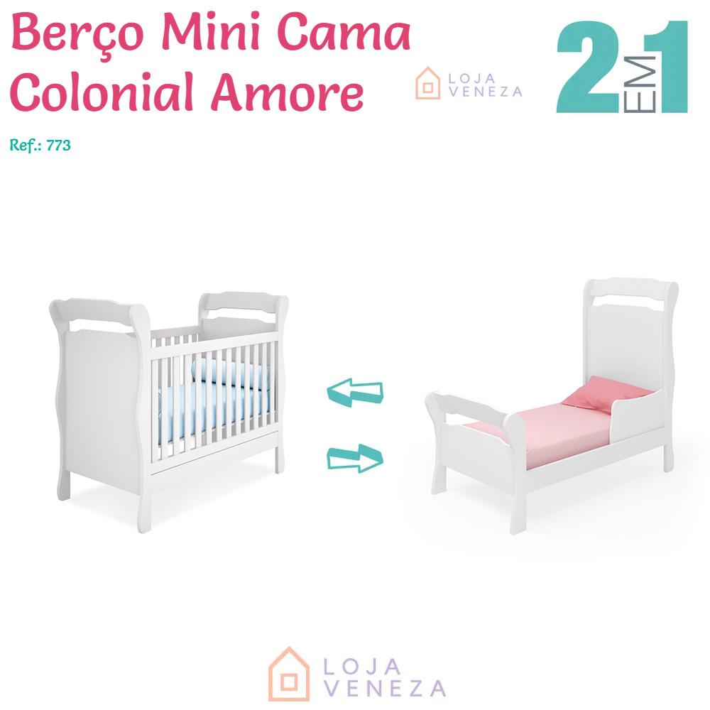 Berço Mini Cama Colonial com Rodinha Amore Qmovi 773 - Branco  - Loja Veneza