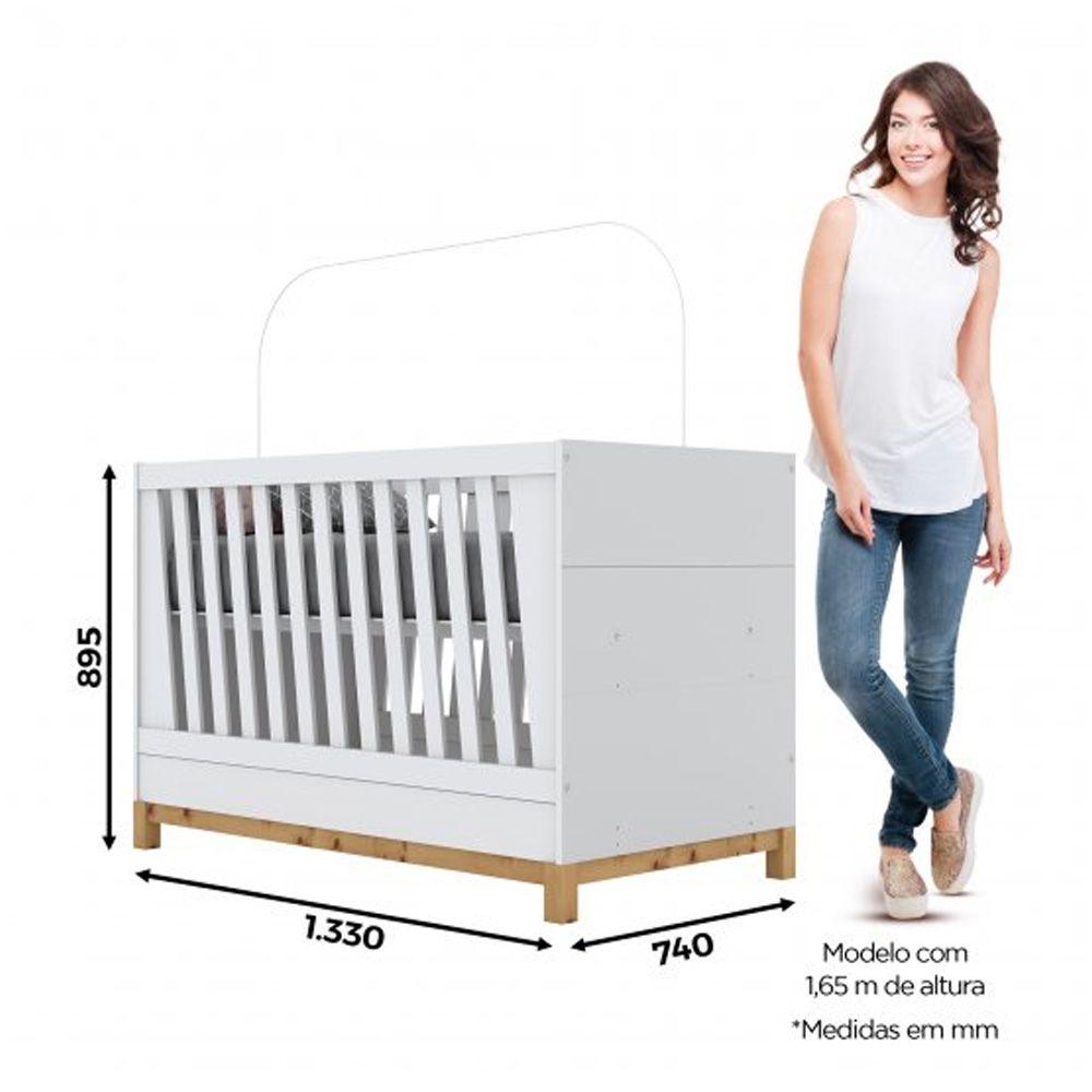 Berço Mini-cama Montessoriano de MDF Henn Alegria - Branco HP Fosco  - Loja Veneza