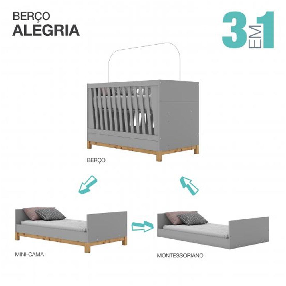 Berço Mini-cama Montessoriano de MDF Henn Alegria - Cinza  - LOJA VENEZA