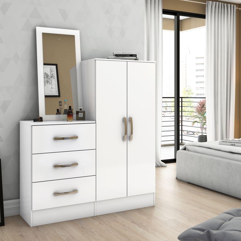 Cômoda Sapateira com Espelho 3 Gavetas 2 Portas Henn Briz B700 - Branco  - Loja Veneza