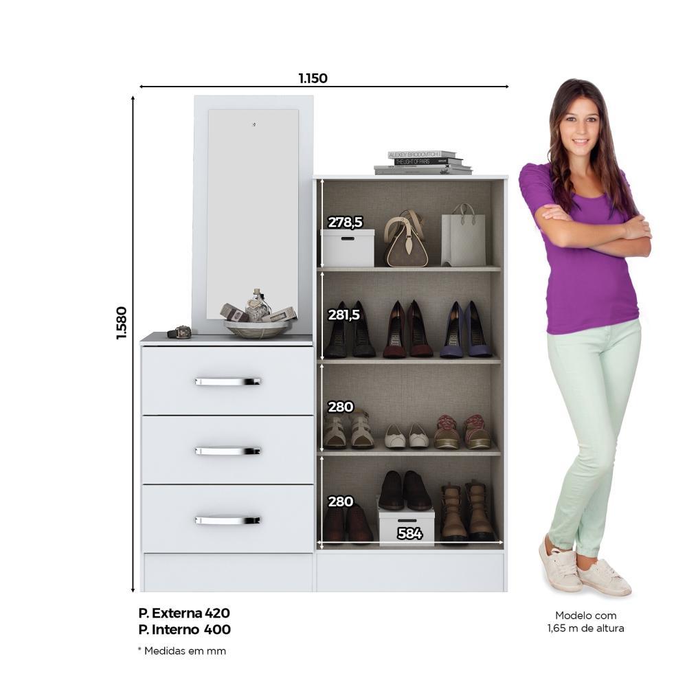 Cômoda Sapateira com Espelho 3 Gavetas 2 Portas Henn Briz B700 - Branco