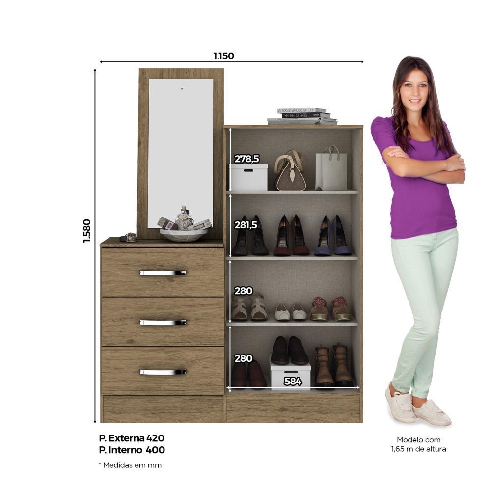 Cômoda Sapateira com Espelho 3 Gavetas 2 Portas Briz B700 - Rústico  - Loja Veneza
