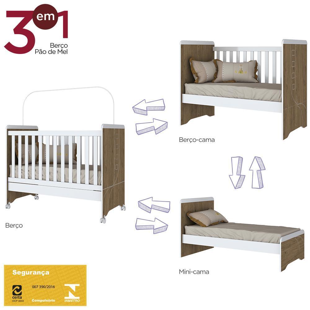 Conjunto Berço Mini-cama com Guarda-roupa Infantil 3 Portas Pão de Mel Henn - Rústico/Branco  - Loja Veneza