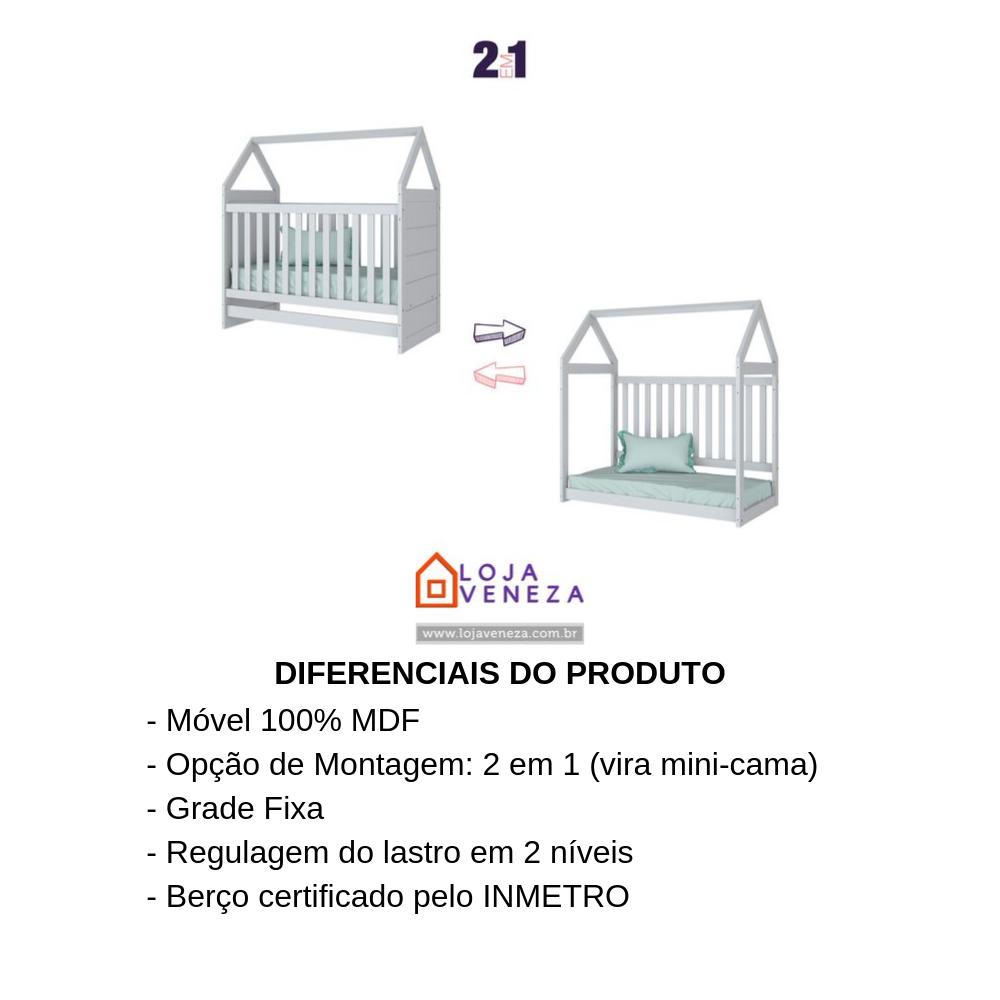 Conjunto Berço Montessoriano com Guarda-roupa Infantil Americano Henn - Branco HP Fosco  - LOJA VENEZA