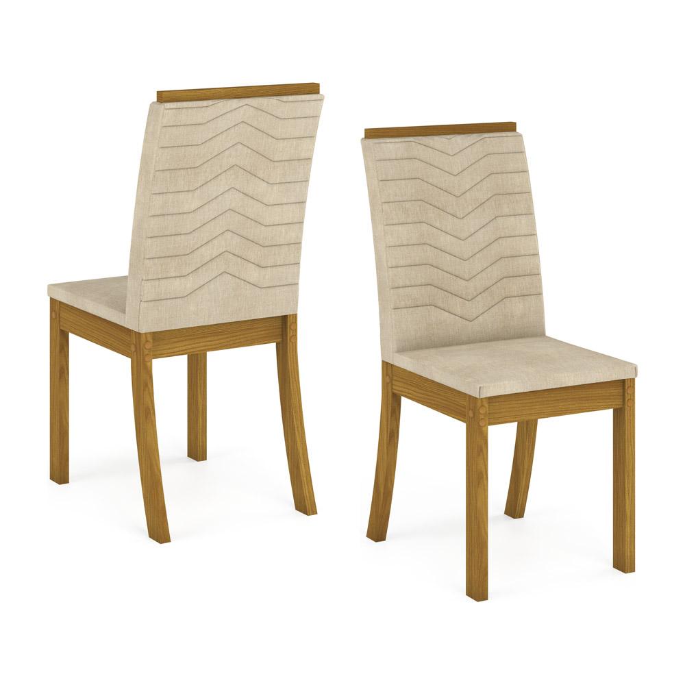 Conjunto com 4 Cadeiras Dina para Sala de Jantar Henn - Nature/Linho  - Loja Veneza