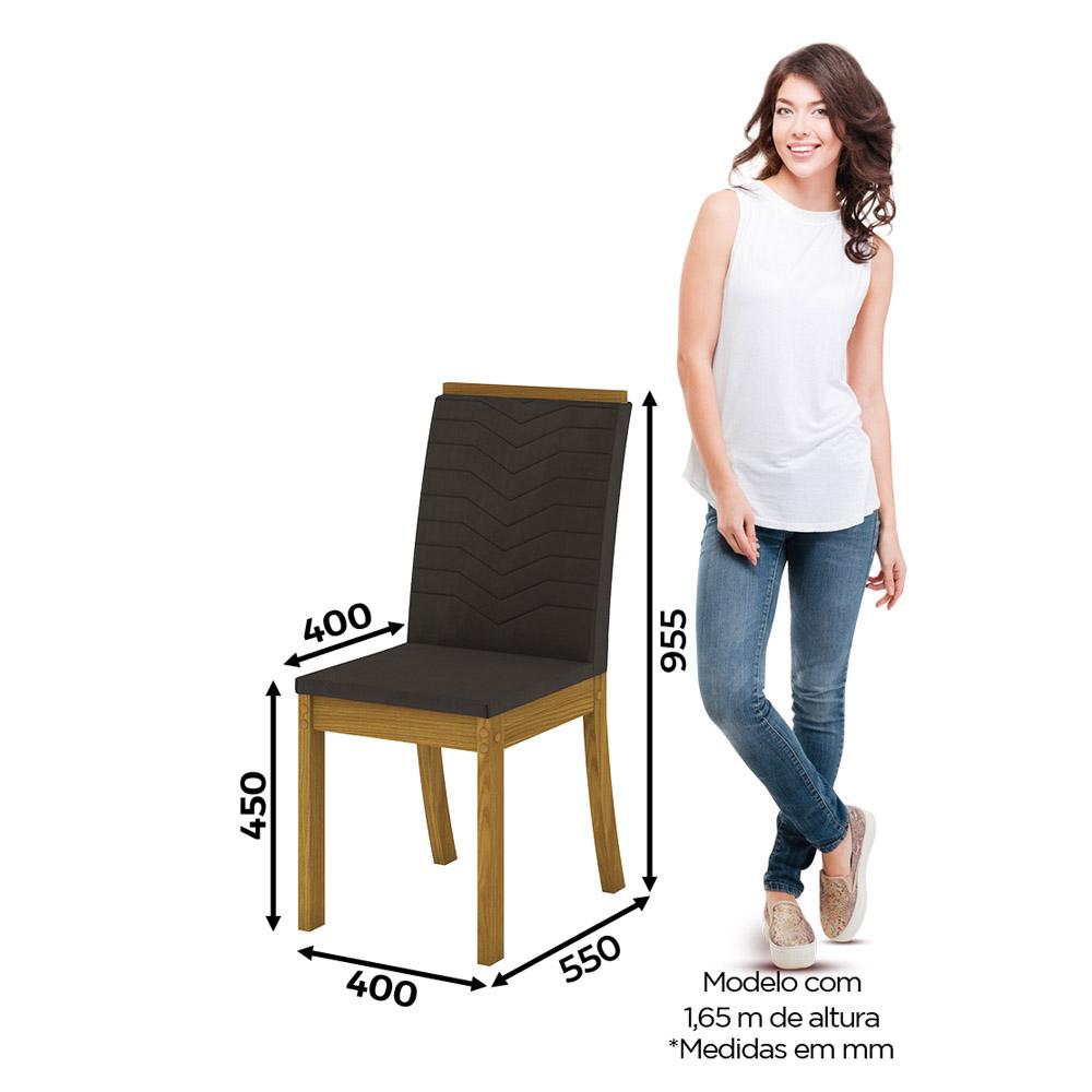 Conjunto com 4 Cadeiras Dina para Sala de Jantar Henn - Nature/Marrom  - Loja Veneza