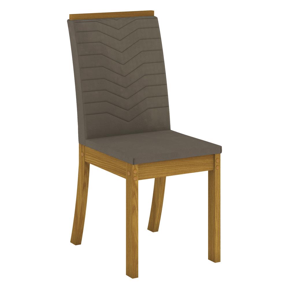 Conjunto com 6 Cadeiras Dina para Sala de Jantar Henn - Nature/Bege  - Loja Veneza