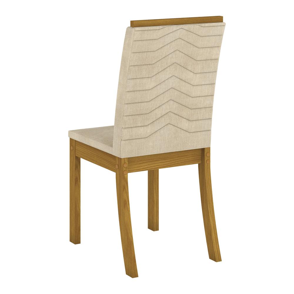 Conjunto com 6 Cadeiras Dina para Sala de Jantar Henn - Nature/Linho  - Loja Veneza