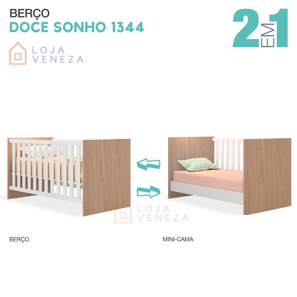 Conjunto com Berço Mini-cama e Cômoda 3 Gavetas Doce Sonho Qmovi - Carvalho Rústico/Branco  - LOJA VENEZA