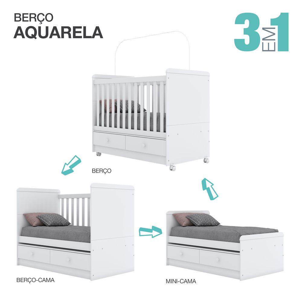 Conjunto com Cômoda e Berço Mini-cama Aquarela Henn - Branco  - Loja Veneza